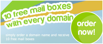 10 Free POP3 Mailboxes With Every Domain Name